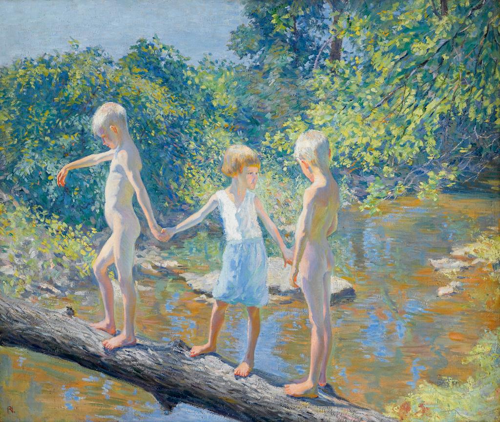 Three Children on a Fallen Log