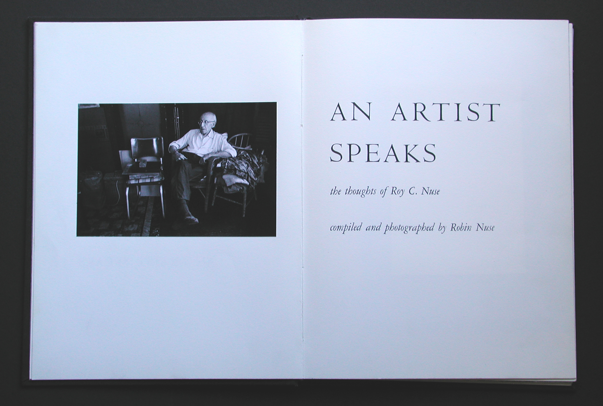"Title page of ""An Artist Speaks"" limited edition book by Robin Nuse, 1972"