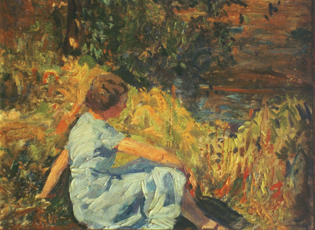 Artist's Wife by the Riverbank