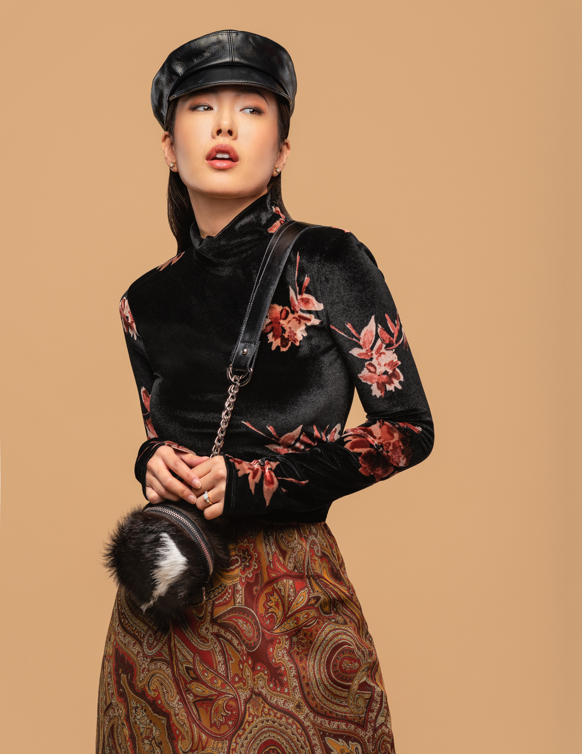 LEather cap and hide backpack by aleksia pavlovic  styled with vintage velvet top and reworked paisley skirt