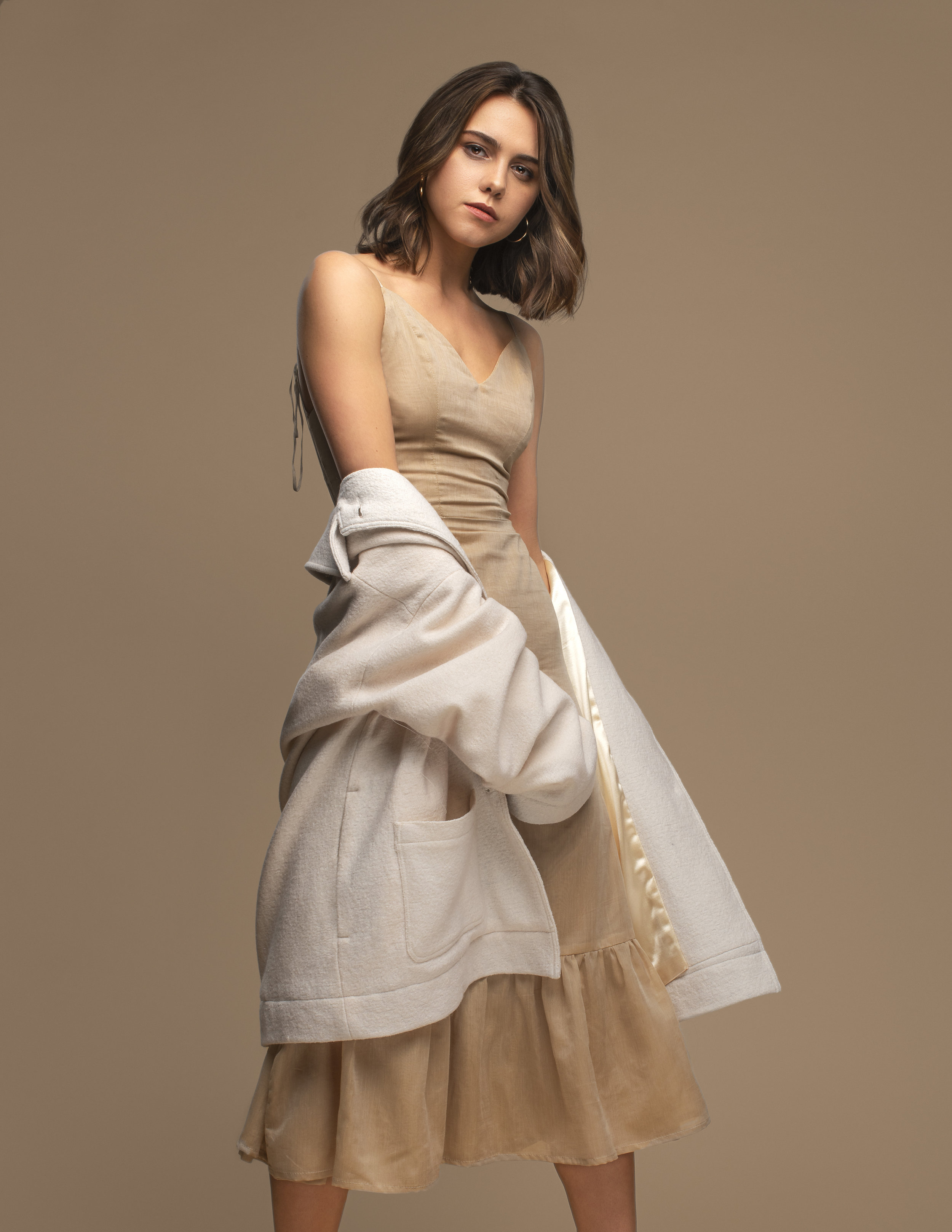 1/1 silk dress and wool coat by aleksia pavlovic