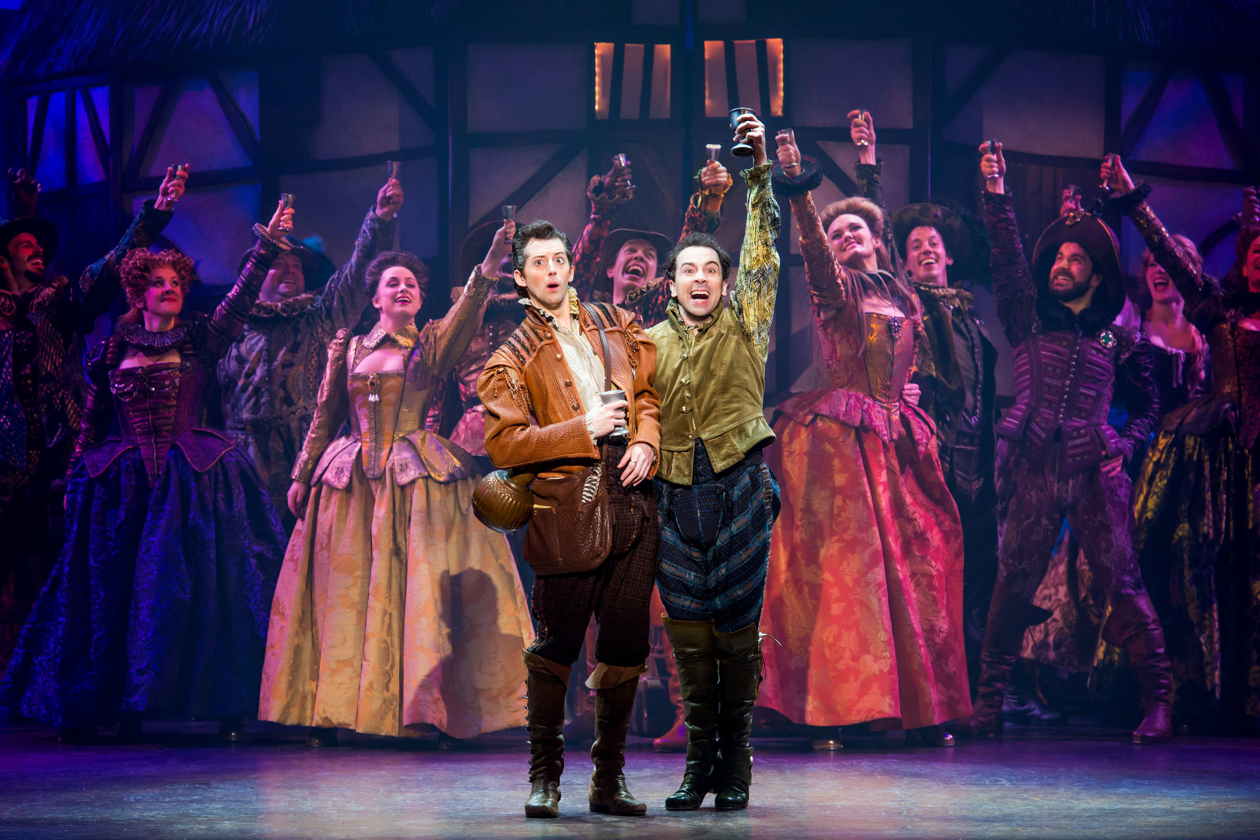 Josh Grisetti and Rob McClure with the cast of  Something Rotten . Photo by Jeremy Daniel.