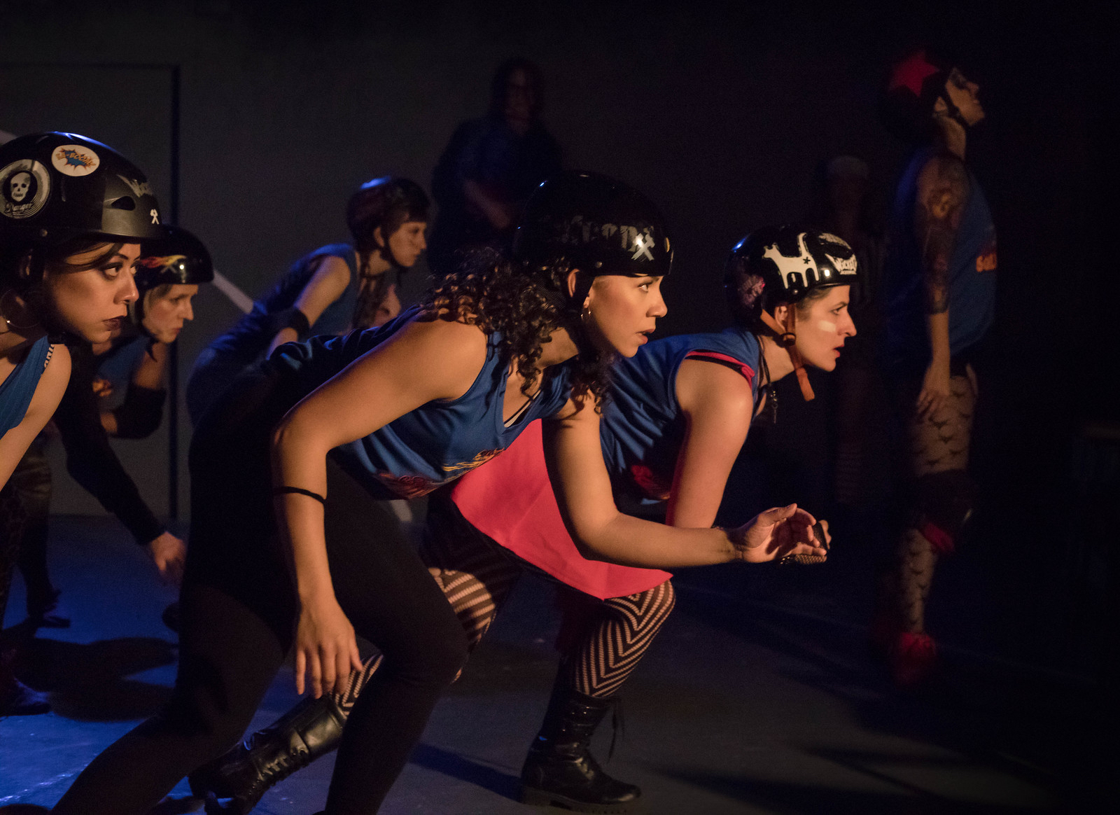 "(Foreground) - Crystal Diaz, Cassandra Blair, Alina Phelan (with the company) star in Theatre of NOTE's West Coast Premiere production of ""FOR THE LOVE OF (or the roller derby play) by Gina Femia, directed and choreographed by Rhonda Kohl and now playing at Theatre of NOTE in Hollywood. Photo by Darrett Sanders"