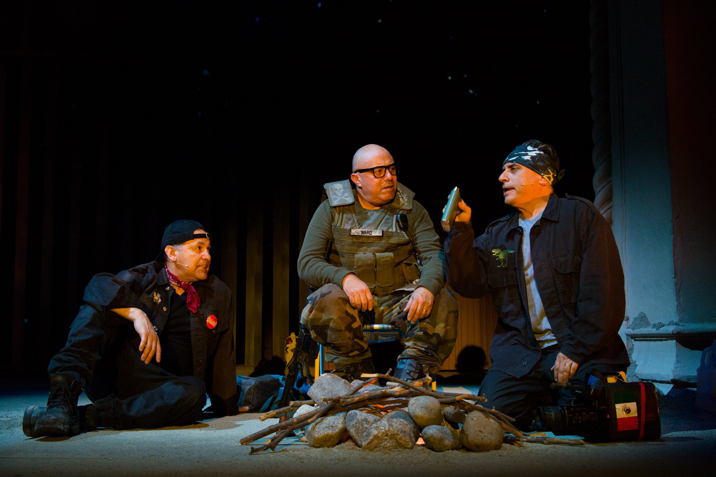 (L-R) Culture Clash's Ric Salinas, Herbert Sigüenza, and Richard Montoya in Bordertown Now at Pasadena Playhouse. // Photo by Philicia Endelman
