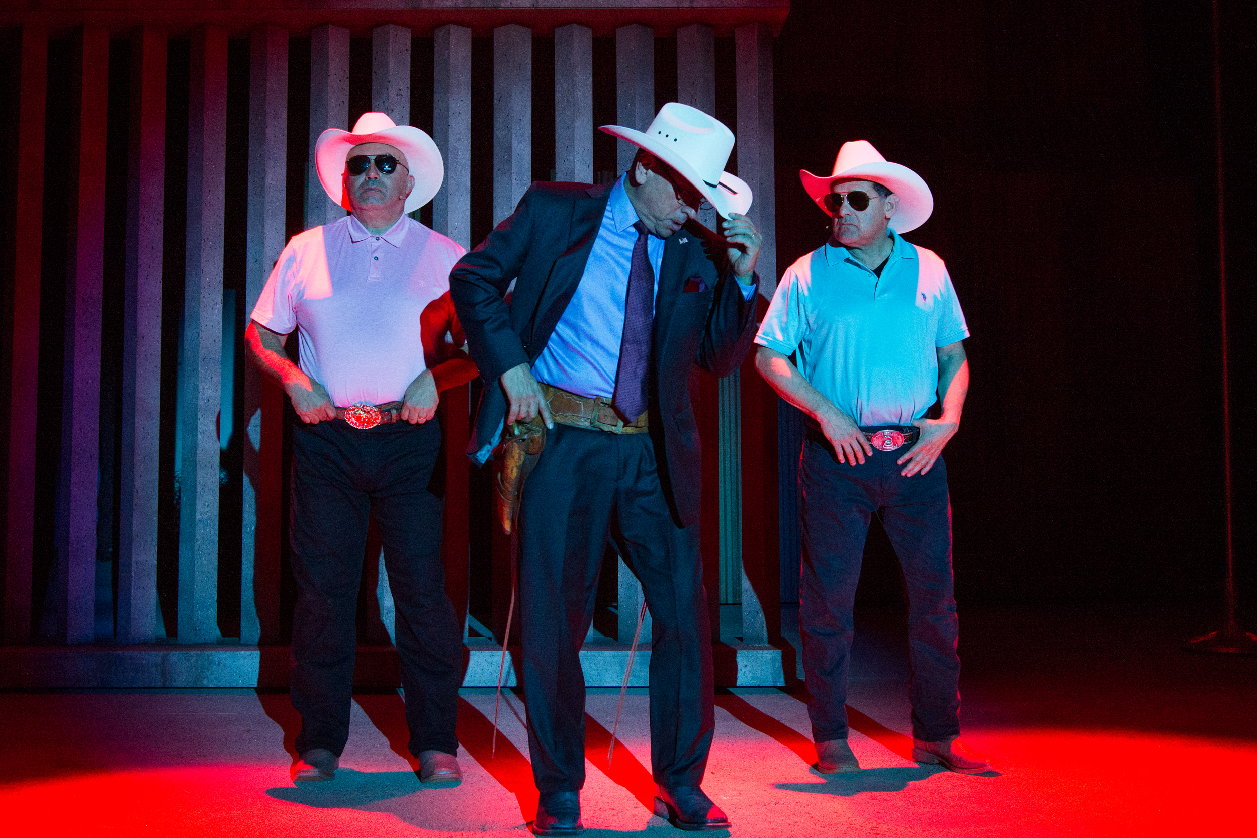 (L-R) Culture Clash's Herbert Sigüenza, Richard Montoya, and Ric Salinas in Bordertown Now at Pasadena Playhouse. // Photo by Philicia Endelm