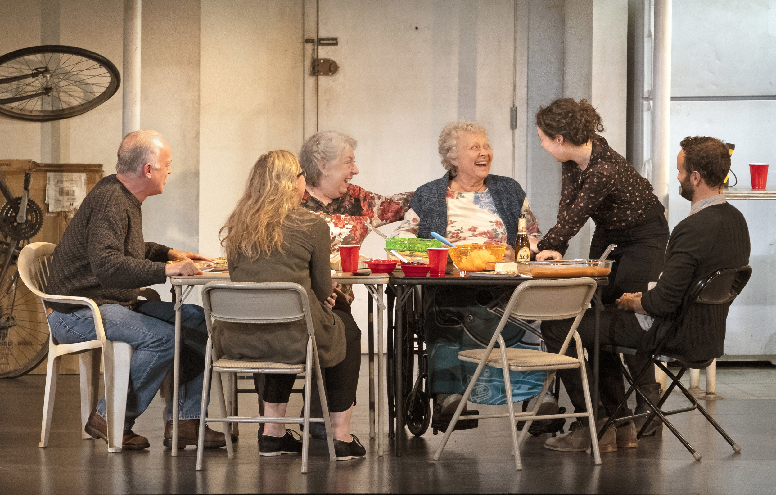 "L-R: Reed Birney, Cassie Beck, Jayne Houdyshell, Lauren Klein, Sarah Steele and Nick Mills in ""The Humans"" at the Ahmanson Theatre presented by Center Theatre Group. Written by Stephen Karam and directed by Joe Mantello, ""The Humans"" will run through July 29, 2018. Photo by Lawrence K. Ho."