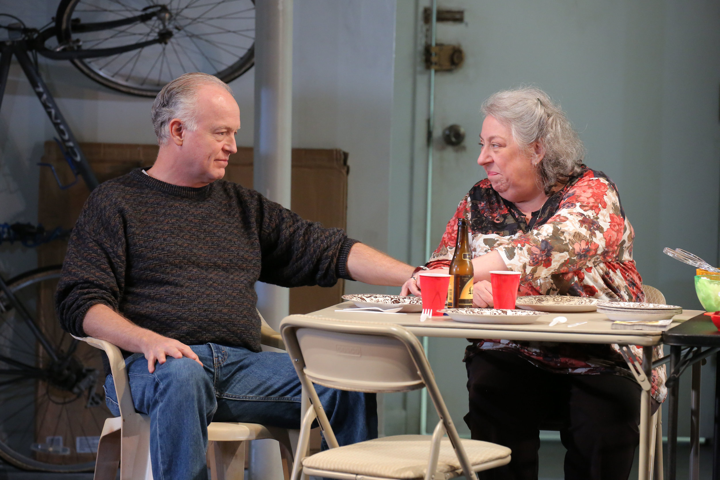 "Reed Birney and Jayne Houdyshell in the New York production of ""The Humans."" Photo by Joan Marcus."