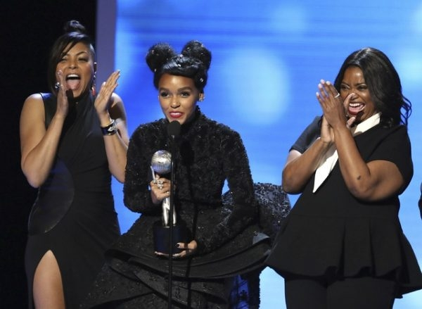 Taraji P. Henson, Janelle Monáe, and Octavia Spencer accepting the NAACP Image Award for Outstanding Motion Picture for  Hidden Figures  last week .