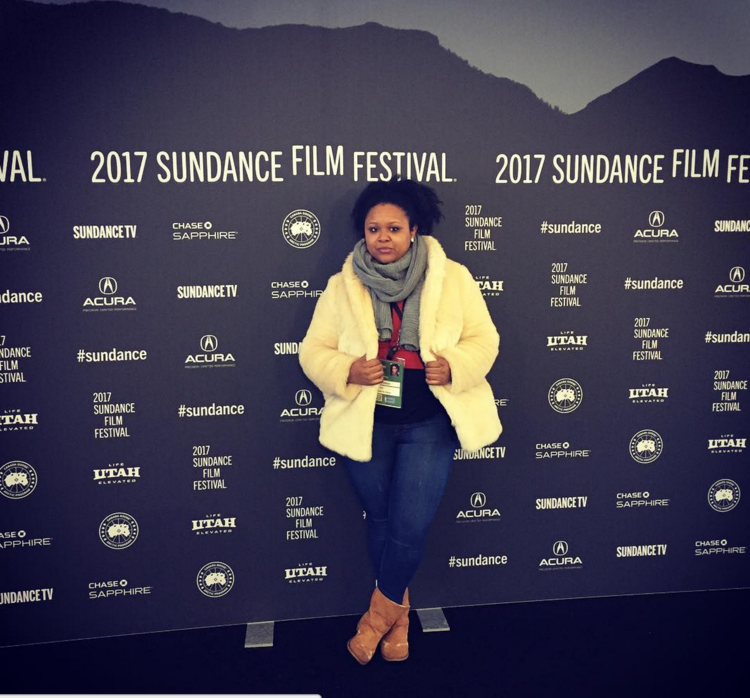 Tonja Renée Stidhum, full-time Black woman, at the 2017 Sundance Film Festival (photo: Cinema Bun Podcast)