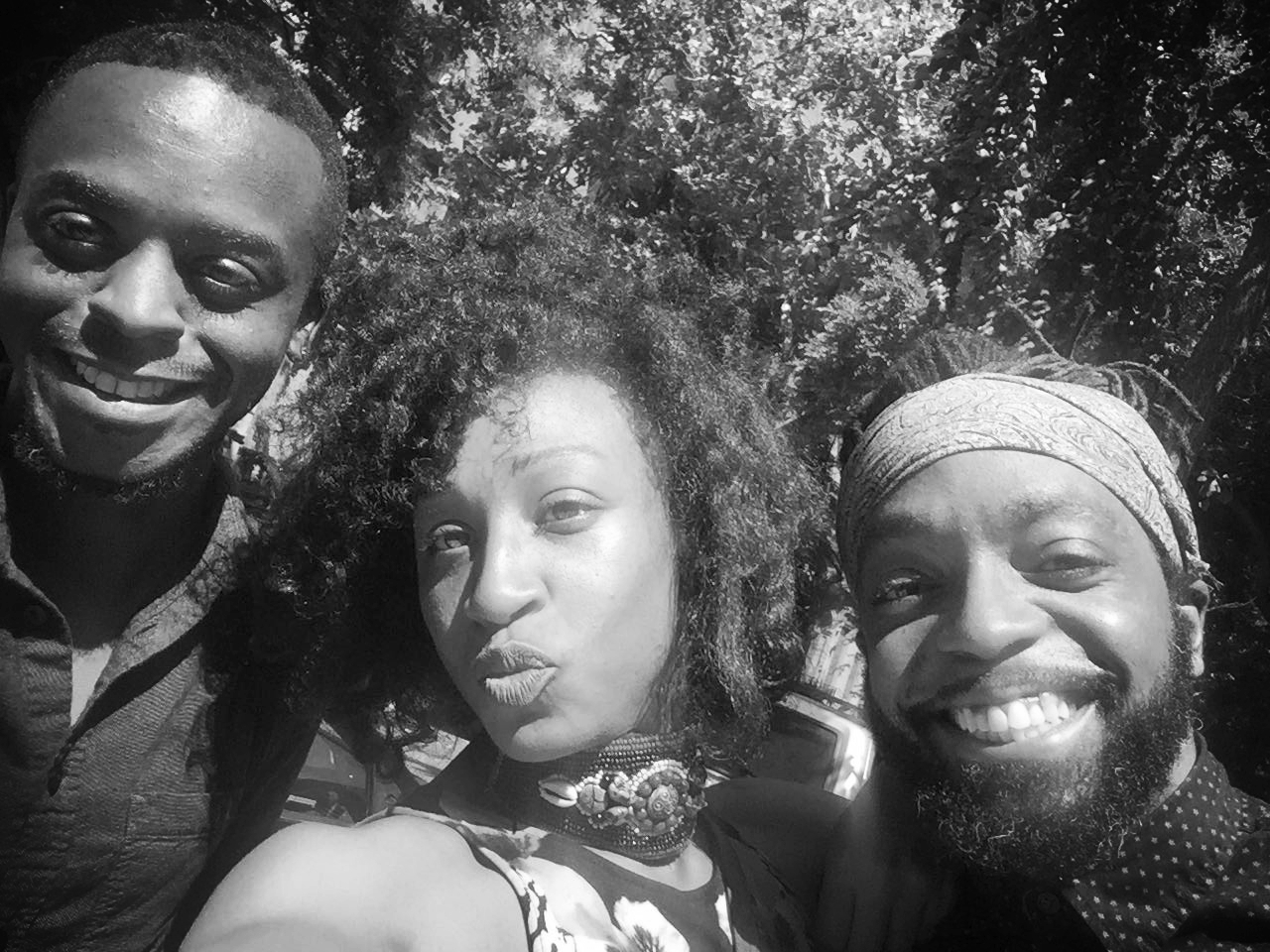Alex with the members of the GetSomeJoy team, Mario Starks and Enesha Nash.