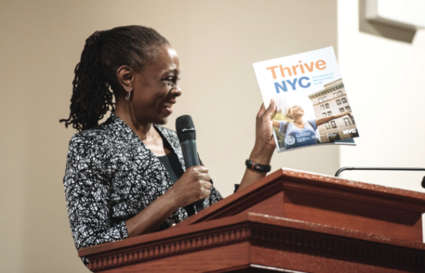NYC First Lady Chirlane McCray promoting Thrive NYC