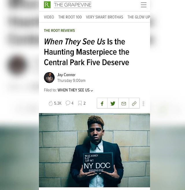 Ya'll watch @whentheyseeus yet? It's a lot. 😔 What are your thoughts? @deathtoadverbs dropped his off over at @the.root. #WhenTheySeeUs #centralpark #centralpark5 #centralparkfive #avaduvernay #Netflix #injustice #prisonreform #koreywise #antronmccray #raymondsantana