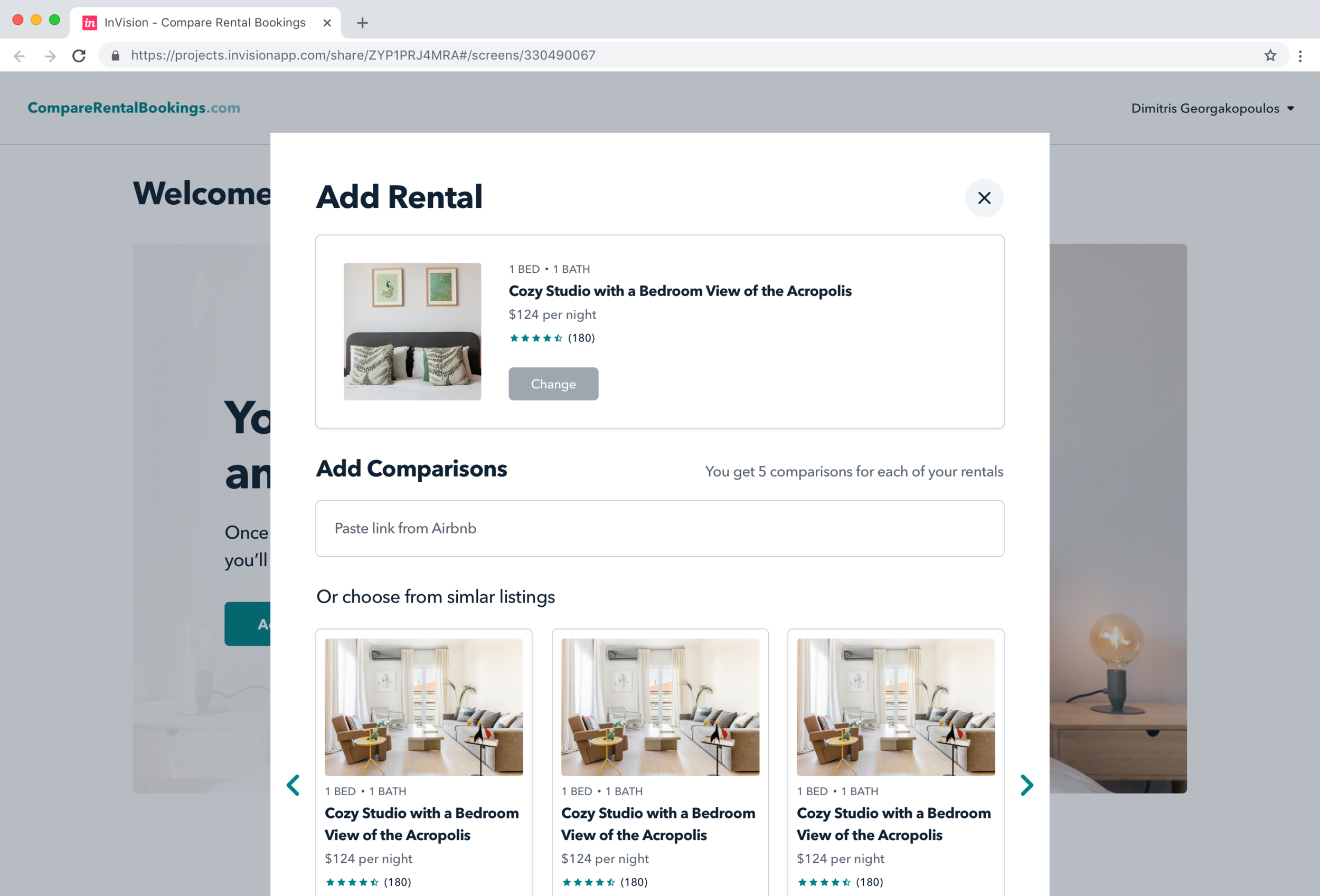 Compare Rental Bookings V3 design (Invision)
