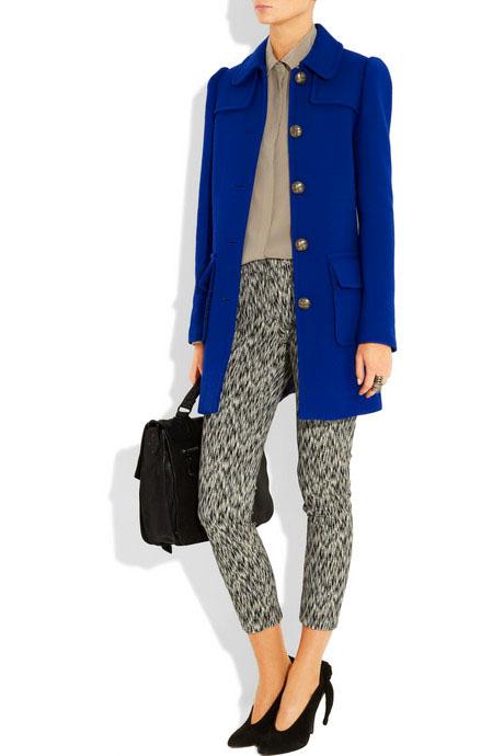 blue print heels black professional coat embelishments