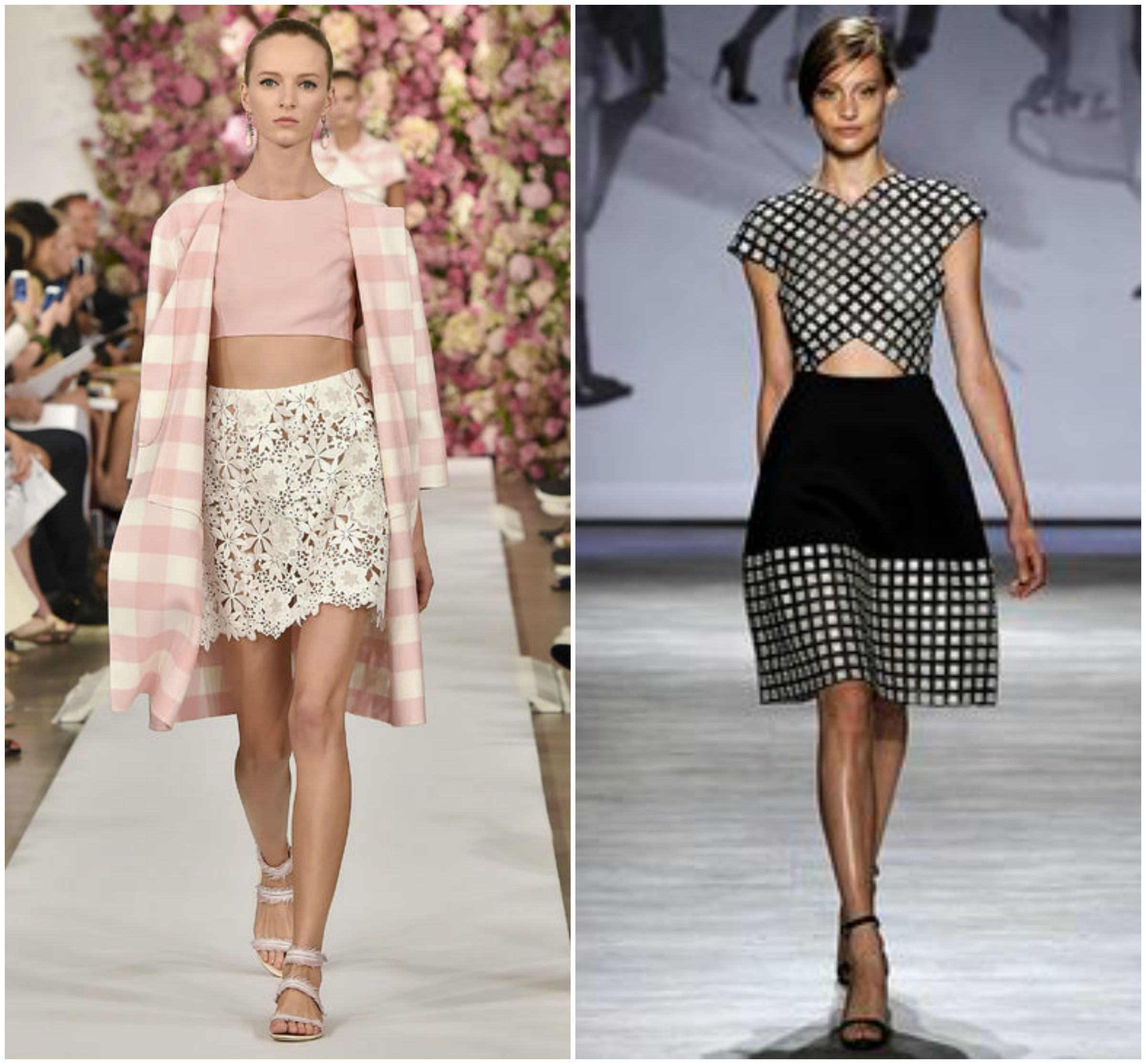 Gingham cardigan black and white pink runway fashion trends