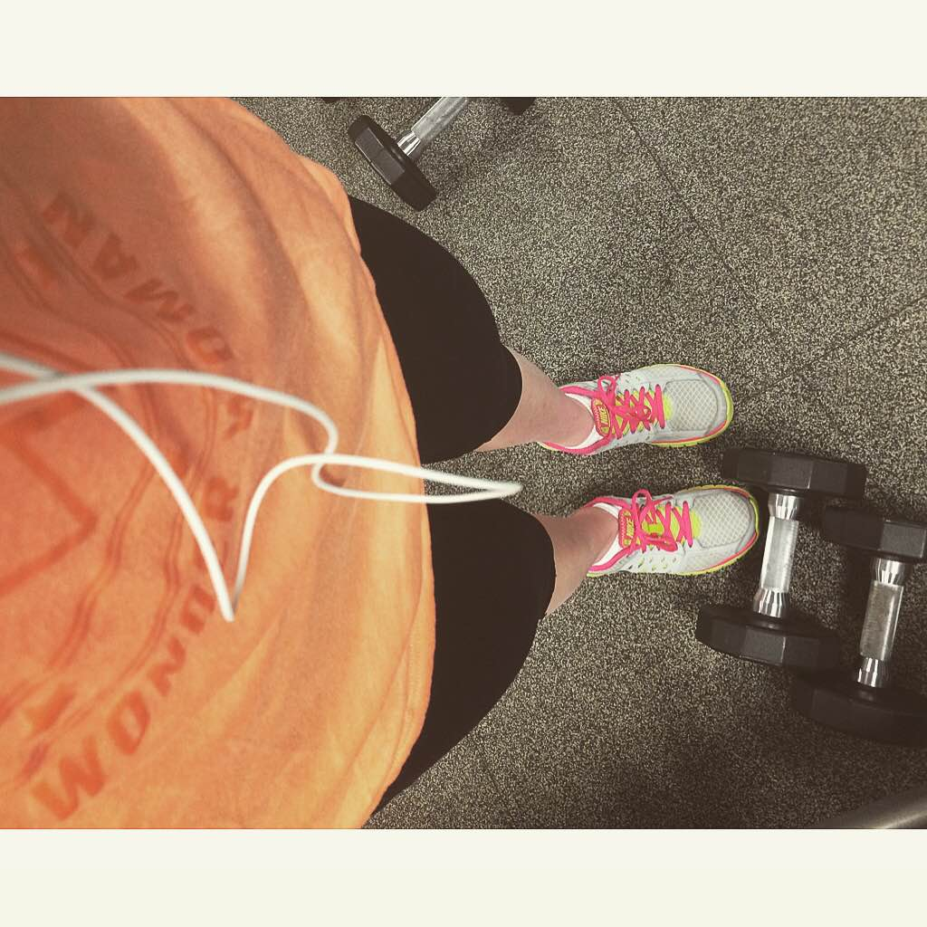 training gym sports orange tennis shoes weights