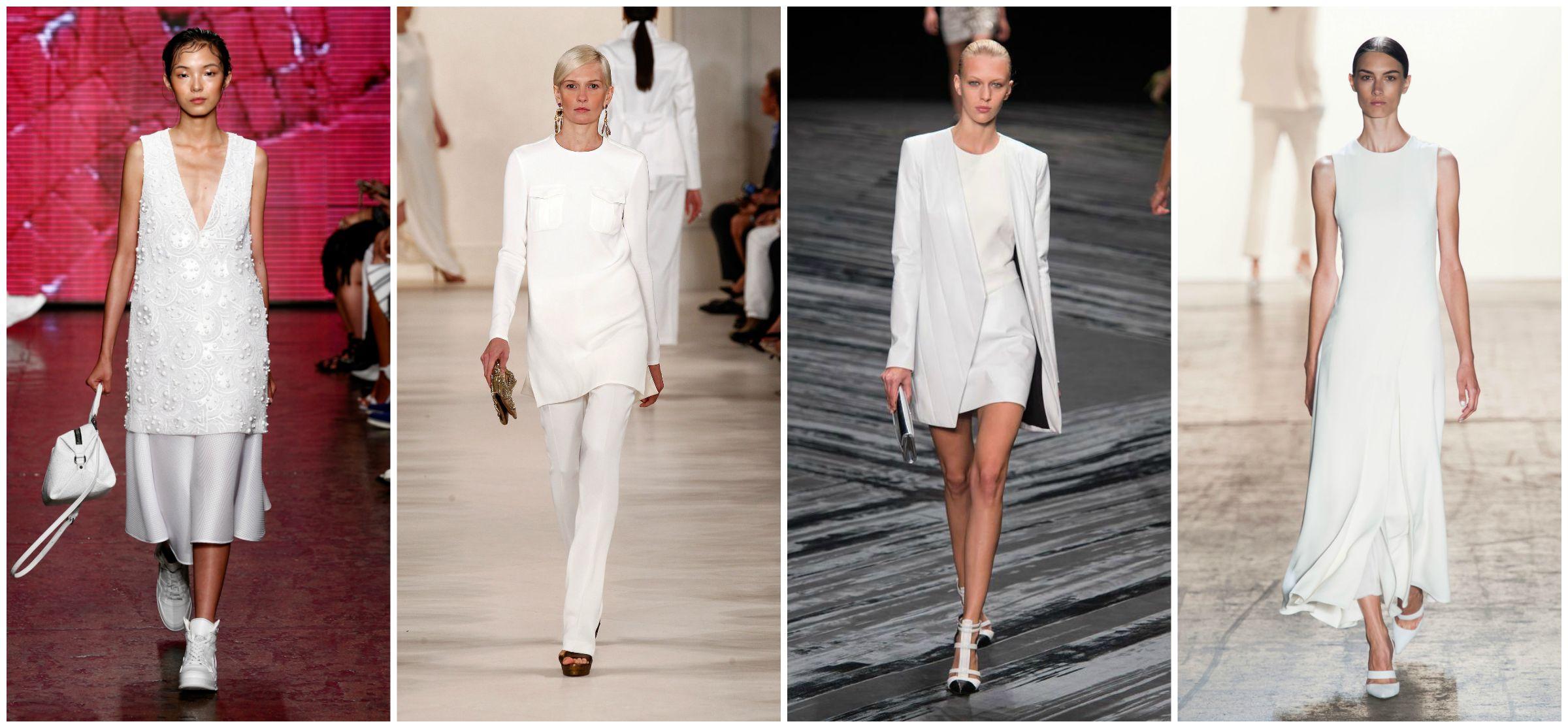 white on white fashion runway trends dress pants strap heels