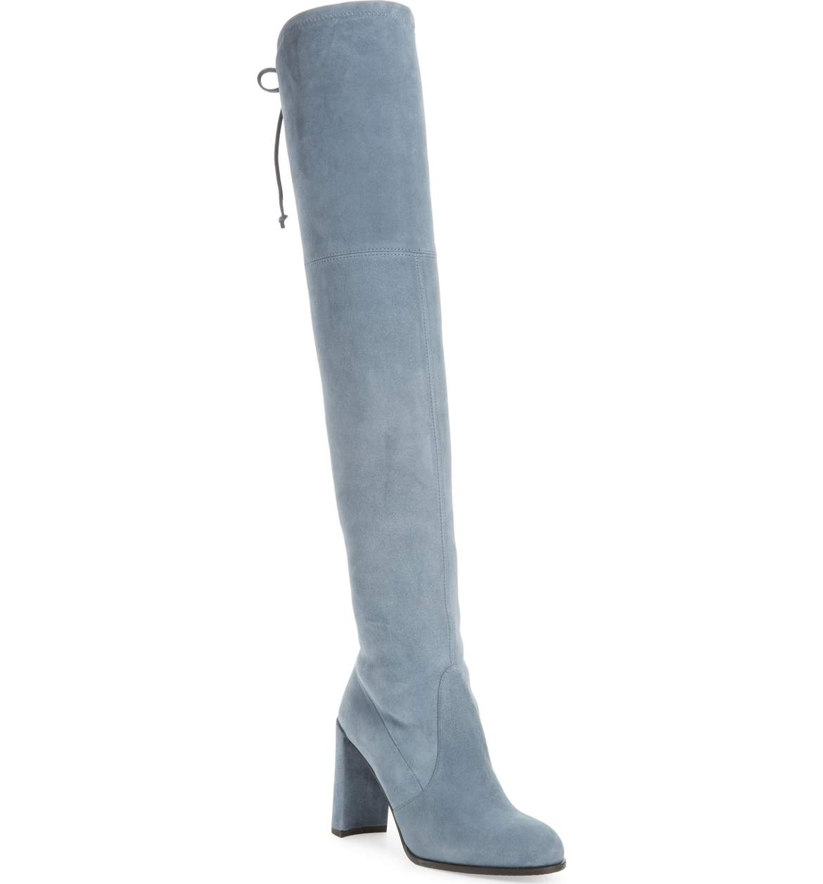 Stuart Weitzman Hiline Over the Knee Boot - Take a twist on a classic-meets-trendy piece with this pop of blue.