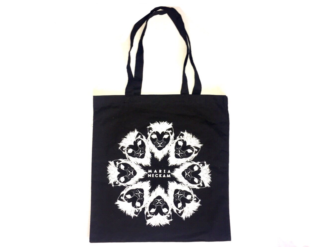 Maria Neckam Black Tote Bag - $20Available in black & natural (off-white) color.Screen-printed in Brooklyn.Multifunctional! Rock it as your all-around bag, grocery shopping bag, or drum-stick-carrier ...