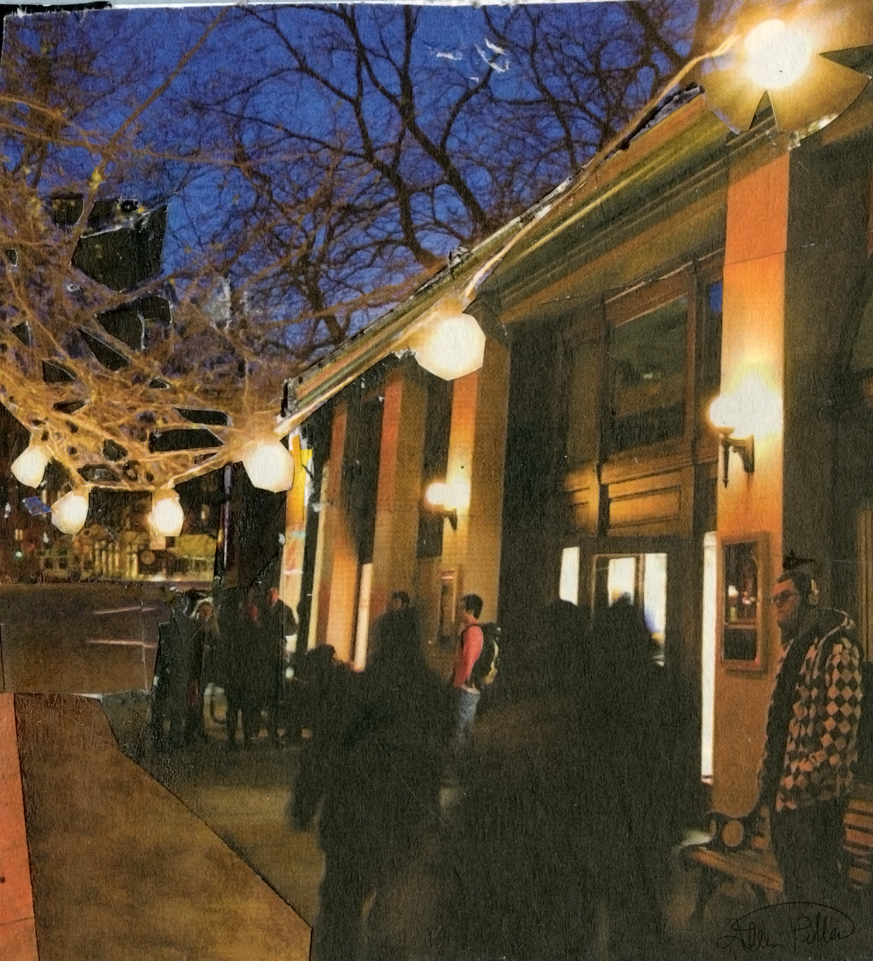 "Street Lights  2016, Collage , 4.5"" x 4.25"""