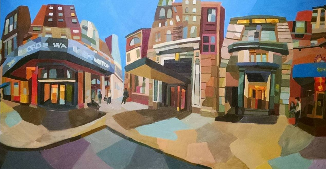 George Street , 2015, oil on canvas 4' x 8'