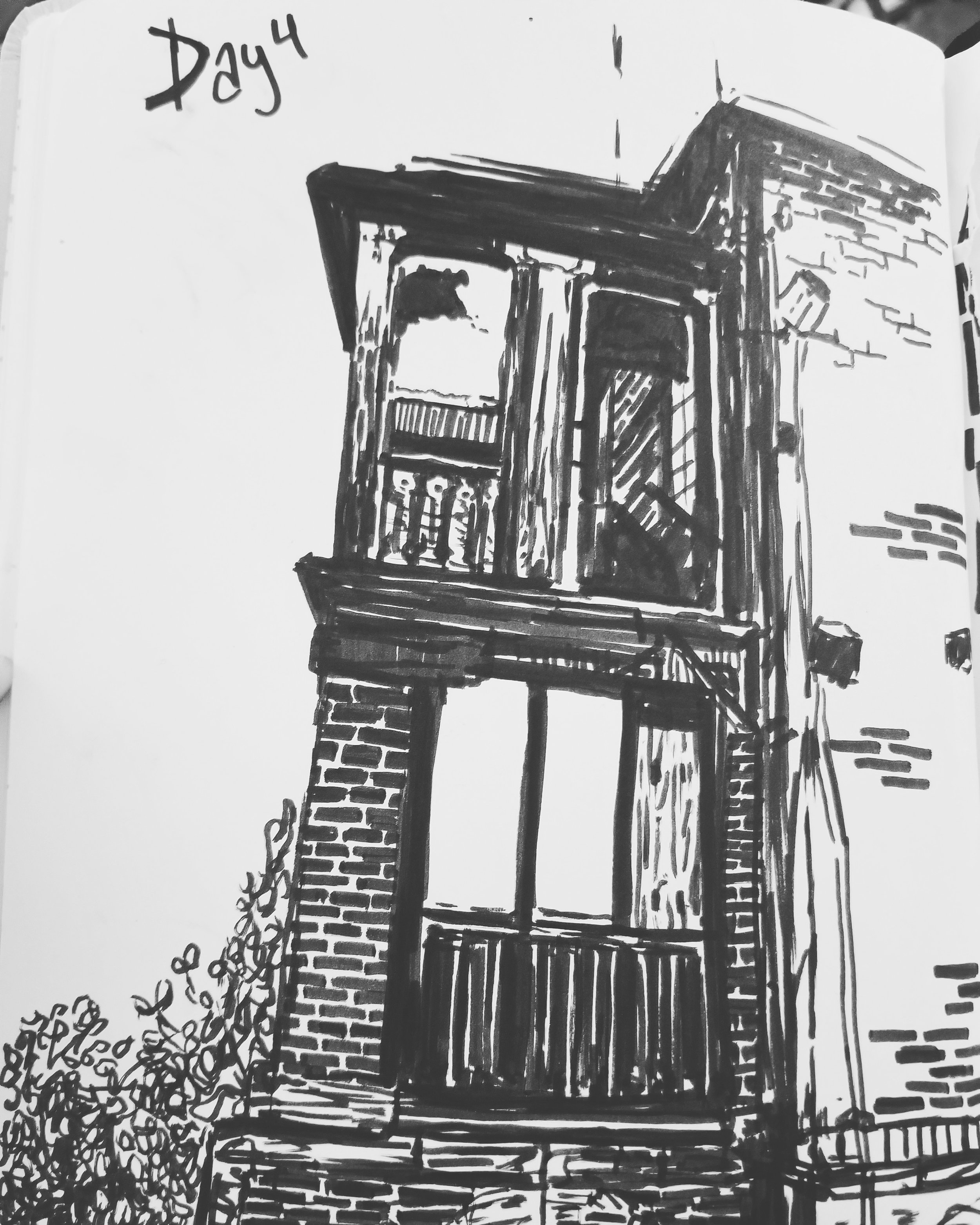 day 3- pen drawing from an old building my friend saw, from reference