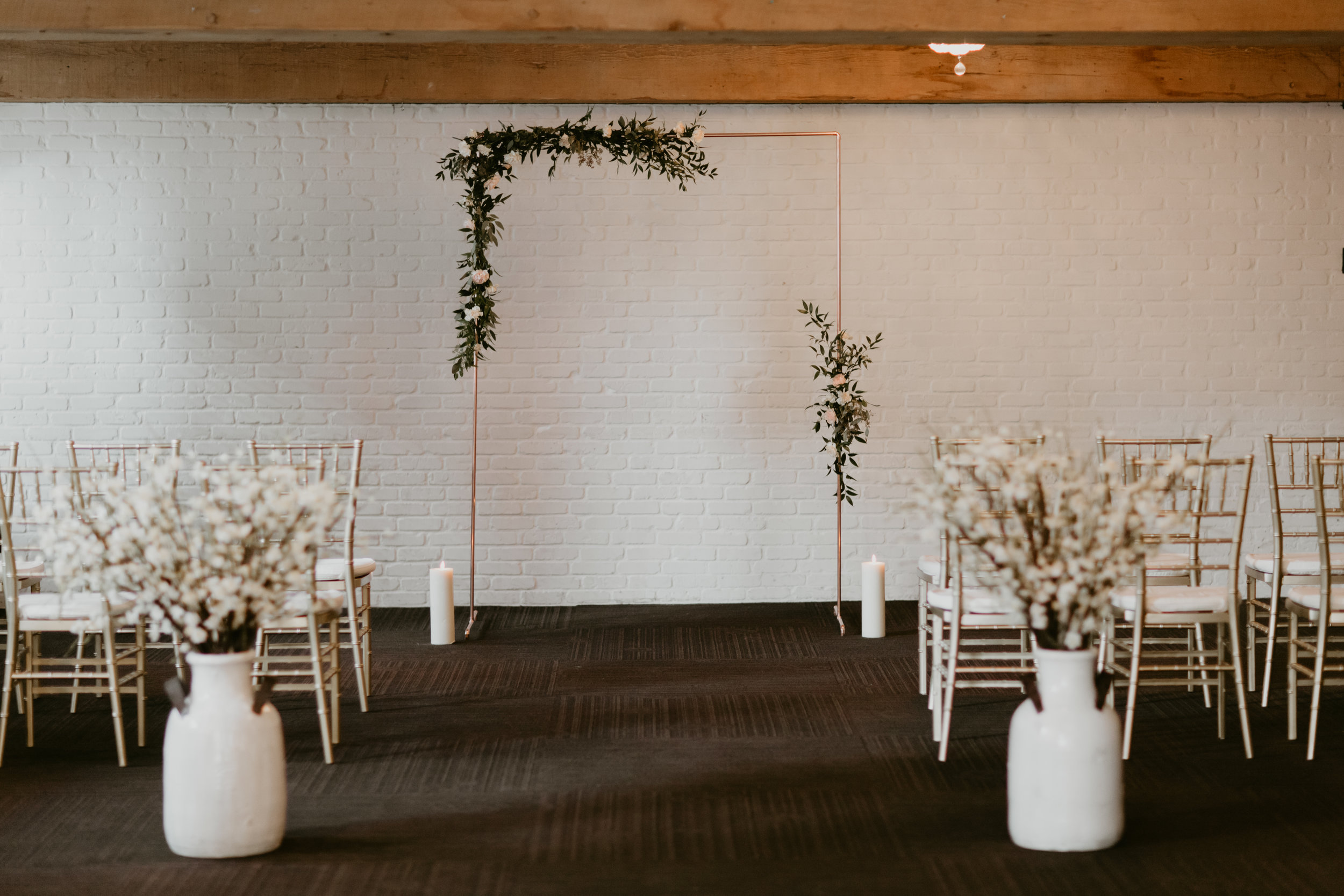 vancouver yaletown loft at earls wedding ceremony with copper arbour