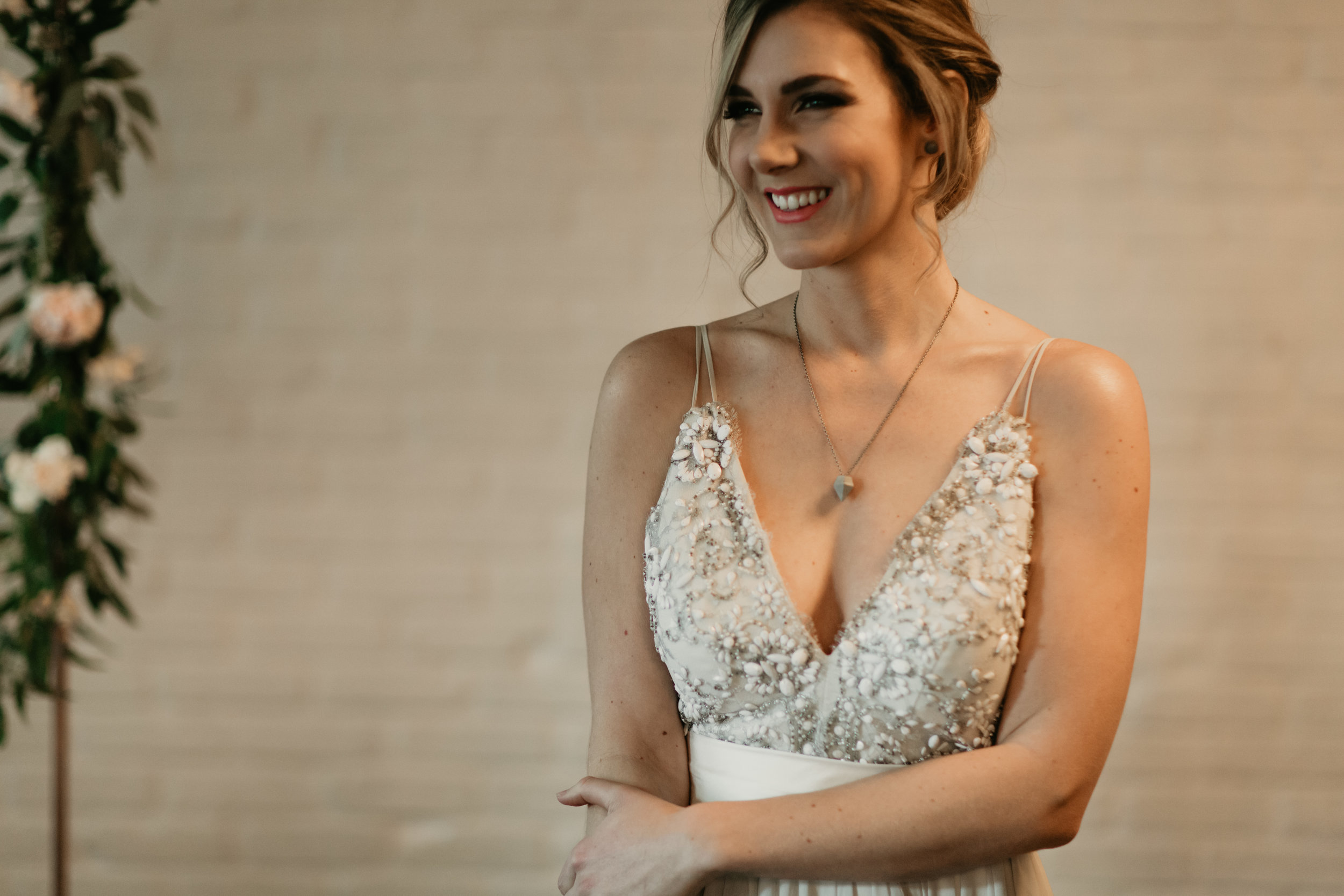 vancouver loft at earls wedding truvelle gown and concrete jewels
