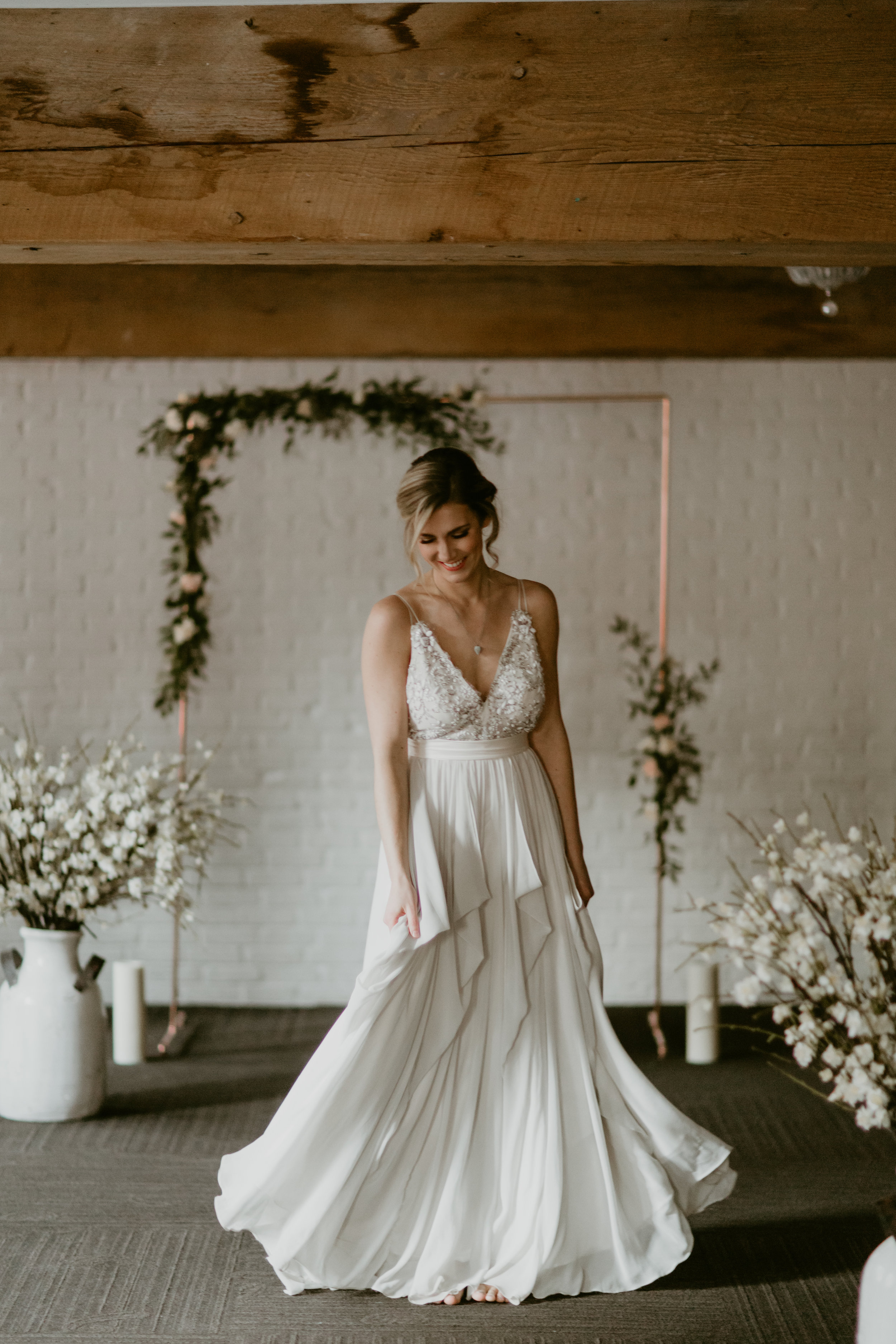 vancouver loft at earls wedding with copper arbour and truvelle alexandra gown