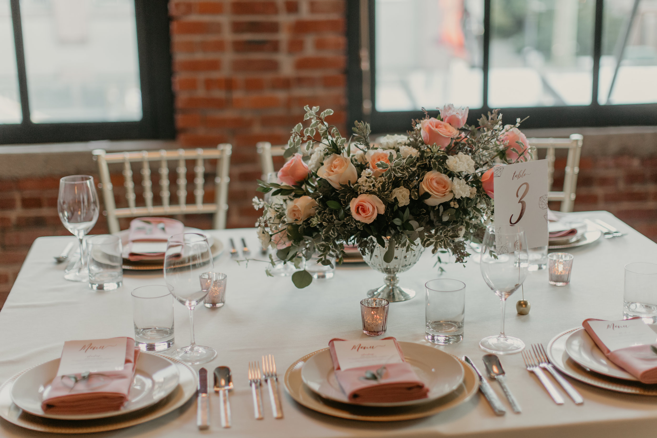blush and gold wedding table setting