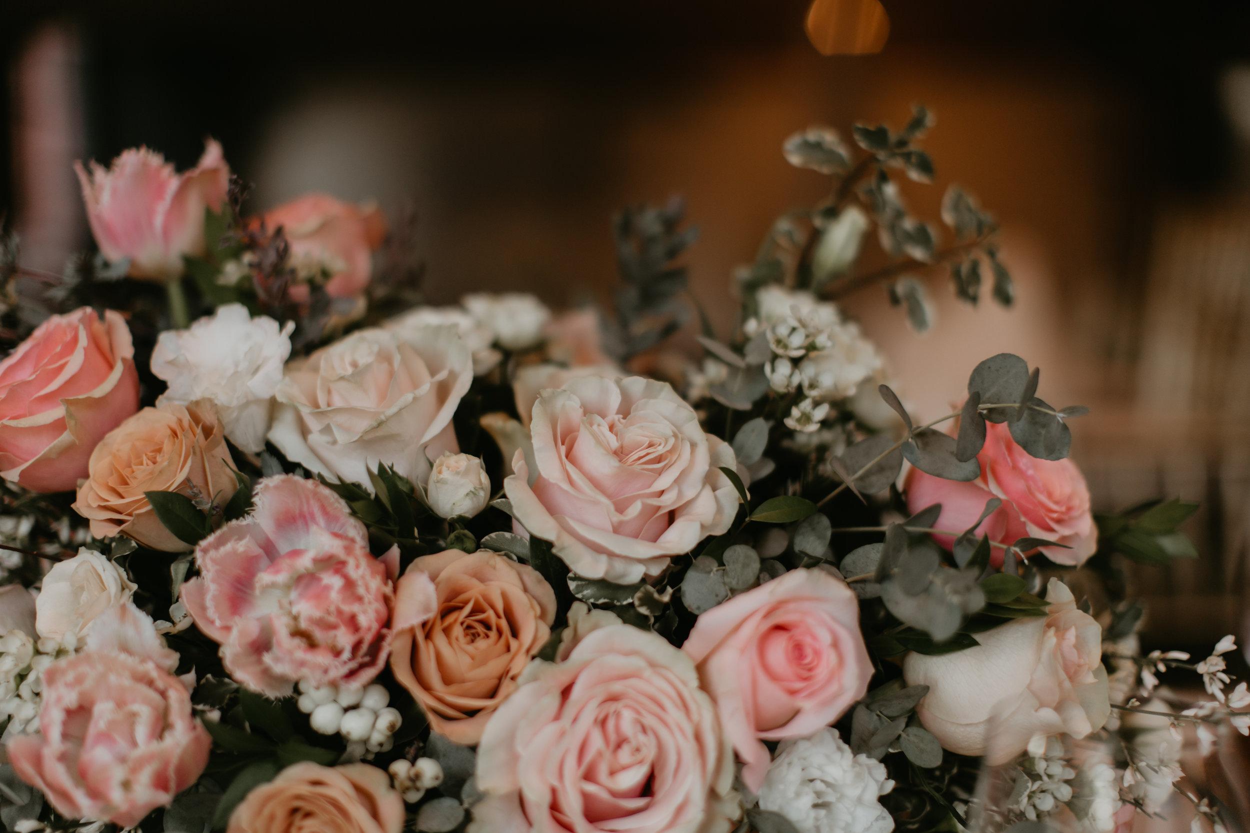 blush copper wedding flower centerpiece