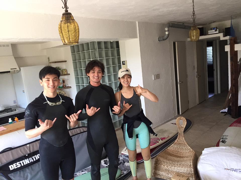 Keio University's Official surf team! Left to right: Kanji, myself, Chiako