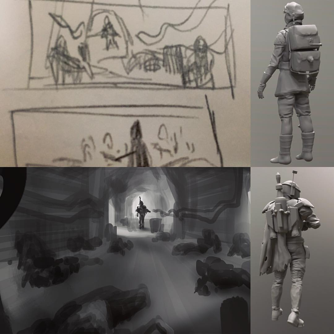 For the #ILM #Artstation #Starwars challenge moment 2 these were the  composition  #thumbnails #rough as well as the #3dcoat character sculpts I needed for the final.  This one I finished with just 4 minutes to go. Still getting the house ready for sale at one point no desk to work on. I'll post final tomorrow. #lifehappens #art #drawing #painting #starwarsempirestrikesback #vader #rebbles #Hoth #empirestrikesback