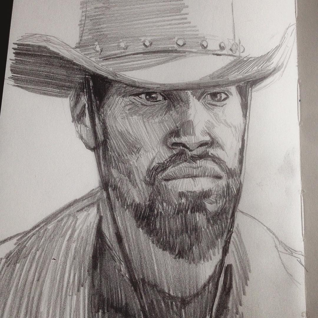 In #django I trust. Warm up from this morning. #drawing #sketchbook #filmstudy #jamiefoxx #quentintarantino. Feeling rusty