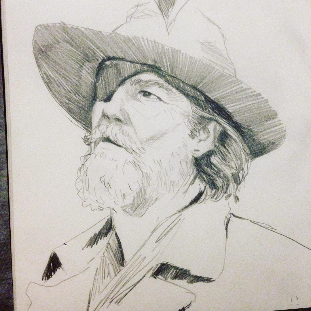 More #TrueGrit #filmstudy #JeffBridges #arthabit #drawing #sketch #sketchbook #doddle #asketchaday #moldkine #art #coenbrothers #cowboys #oldwest #film #holywood
