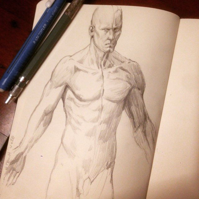 Warm up, got these cool figures from a Kickstarter a year ago from  #3dtotal #Anatomy #drawing   #study #figure  #anatomystudy #asketchaday #molskine