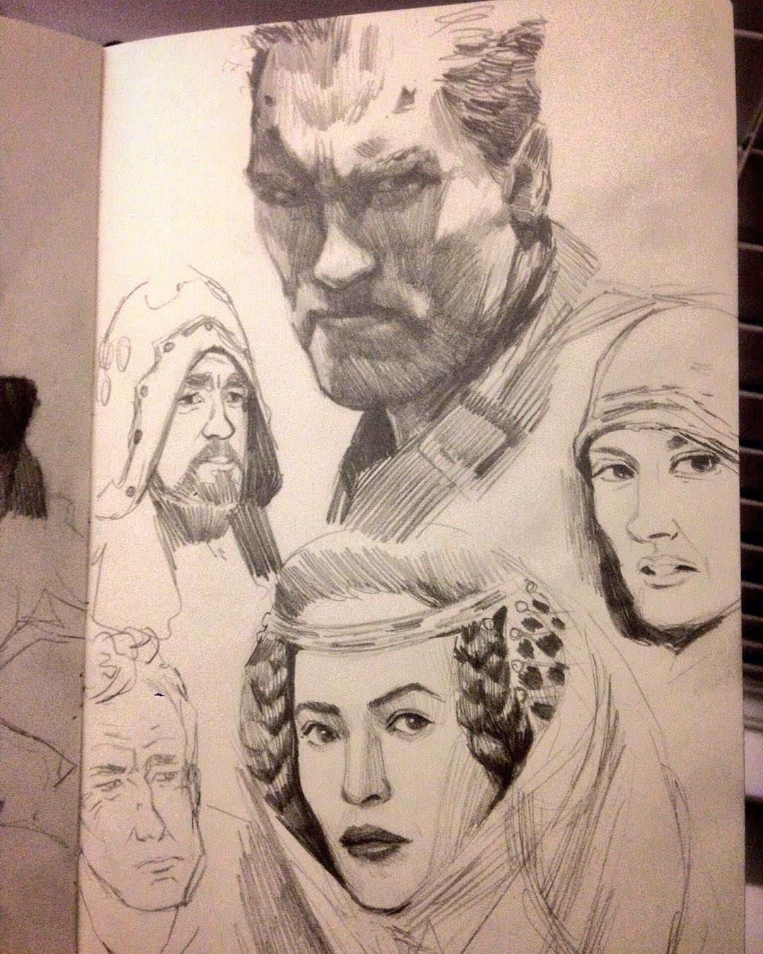 Warm ups from this weekend  #arnoldschwarzenegger #Braveheart #drawing #terminator2  #study #film #jamescameron  #willamwalace #movie #sketches #asketchaday #molskine #faces #shadows #asketchaday #asketchaday2016