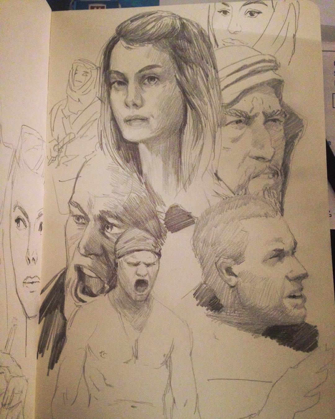Warmup today #filmstudies #drawing #moleskine #faces #art #astudyaday #jarhead #lawrenceofarabia #ingloriousbasterds