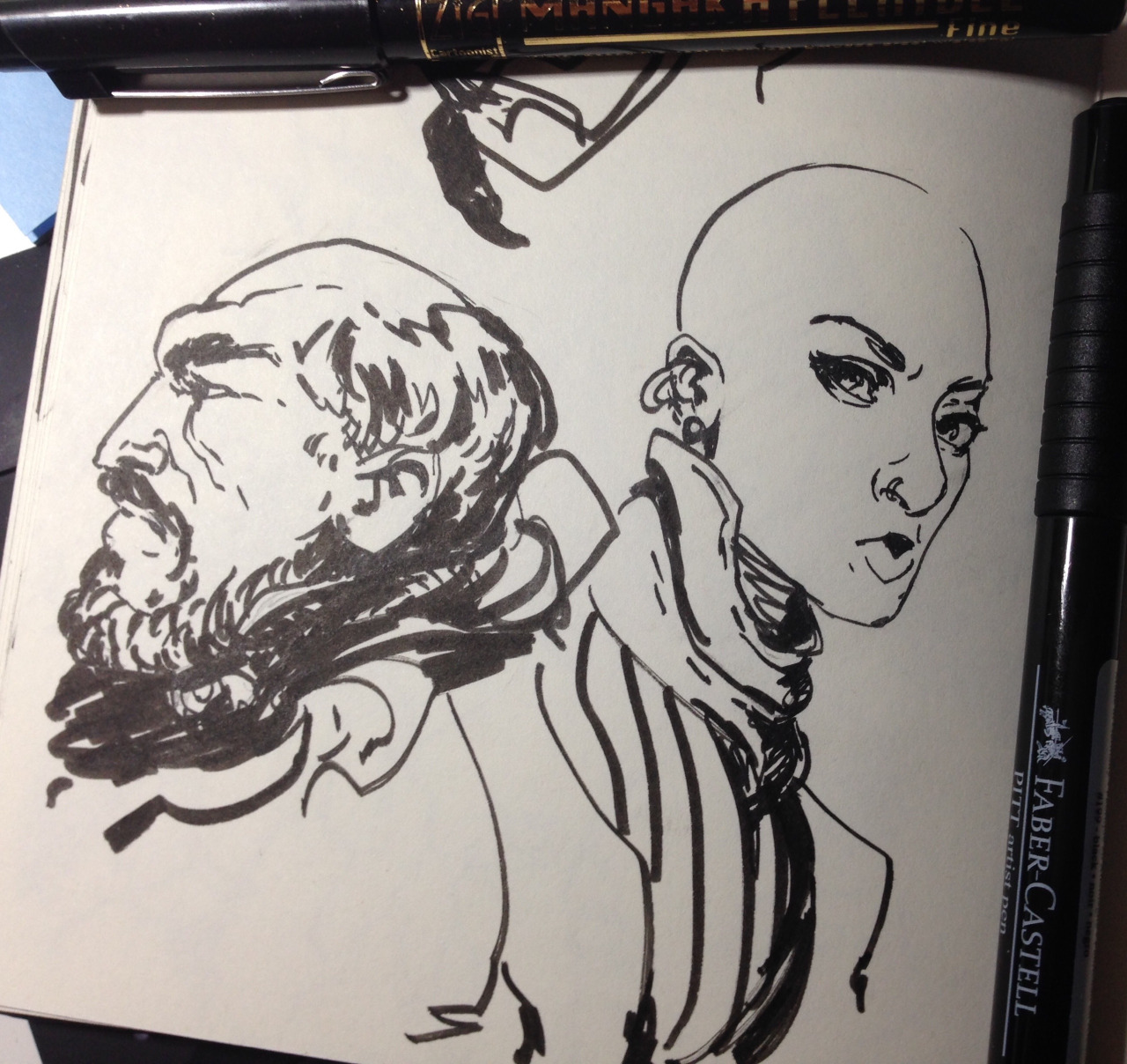 Doodling in the sketchbook with new toys.