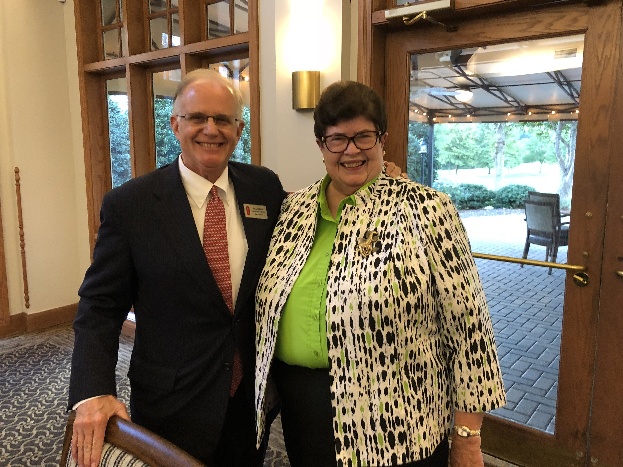 Julian Bibb, Leadership Franklin Board Chair, with Judy Hayes, 2018 Caroline J. Cross Award Recipient.