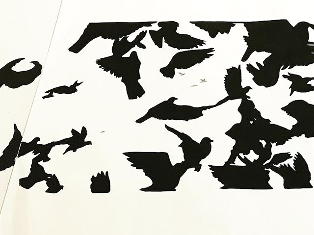 Got a request for something special from @nancy.valenta.71 and I was so excited to rediscover these prints that I first carved 10 years ago! You're seeing little snippets at a funny angle because 4 of them will make 5+ long feet of flight. I had played around with putting these together before but getting them ready to send out for Nancy's redesigned space made me think of all new ways to frame and display. Excited to see how they come out! #birds #fly #linocut #flock #artistsoninstagram #yourartisinthemail