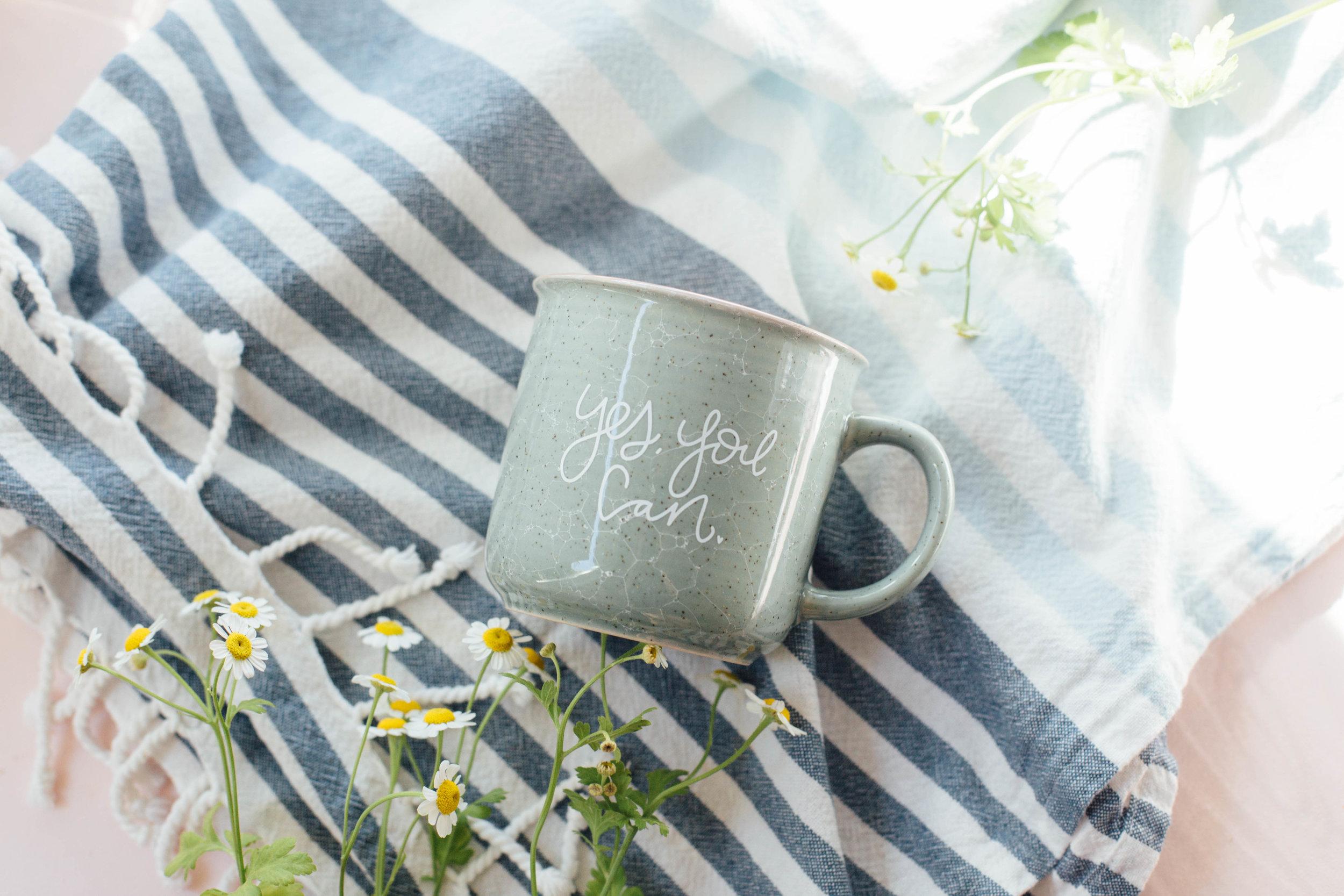 """Yes, You Can"" Ceramic marble camper mug."