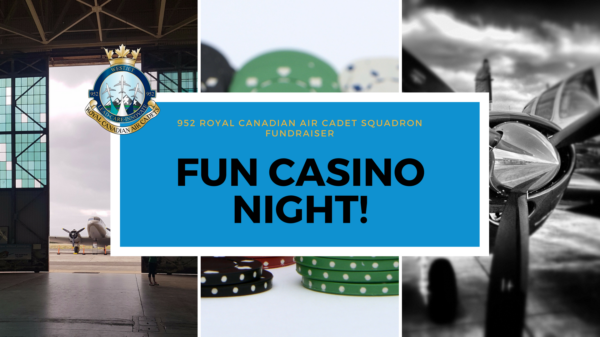 Thanks to everyone who came out to make this event a success!   Come join us for a fun night on Saturday February 24th from 7pm - 11pm to support the 952 Royal Canadian Air Cadet Squadron!  Hosted by the Squadron Sponsoring Committee, the evening will include a fun money casino, silent auction and more. Help us raise funds for a special trip for our 952 Royal Canadian Air Cadet Squadron.  Cash bar. Light hors d'oeurvres. Complimentary parking on site.  This is an adults (18+) only event open to members and invited guests only.  Please note that the event entrance will be by the southeast entry of the Naval Museum (not the main museum entry). Follow the signs.