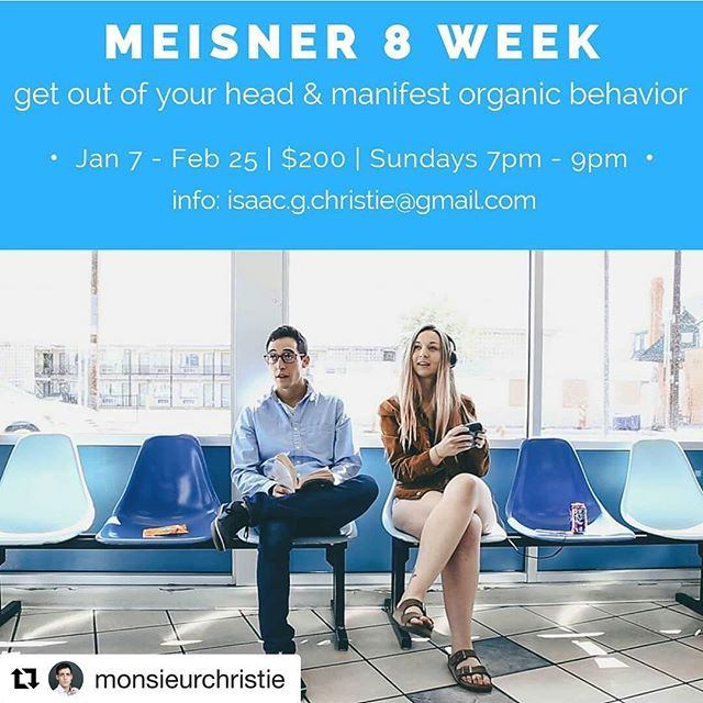 Our very own Yolo is teaching this class starting in the new year. If you're in the area, we guarantee there are much worse ways to spend your January! See below for details. .  #Repost @monsieurchristie (@get_repost) ・・・ Start 2018 with a new outlook on life. Sanford Meisner's technique trains the body to focus on the world and people outside of itself, getting YOU out of your head, so organic behavior can flow to the surface. Allowing the actor to live in the scene like it's the first time, everytime. In 8 weeks, you will learn Meisner's famous repetition exercises with me, Isaac Christie. My ten years of using the Meisner technique has not only taught me how to be a better partner and person on stage and in front of the camera, but also, how to be a better partner and person in life.  Classes start Sunday January 7th 7pm-9pm  Total $200 $25 reserves your spot Email or DM for more info isaac.g.christie@gmail.com