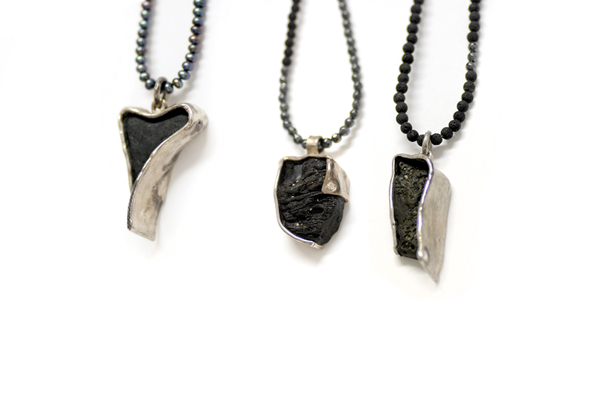 Pendants Platinum Plated Sterling Silver, Obsidian, Basalt, Diamonds, Rose Cut Diamond, Lava, Black Pearl and Hematite Beads