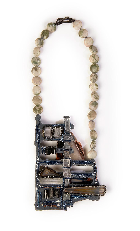 'Antilogos III'  Necklace Silver, Recycled Plastic, Textile, Quartz, Agate, Calcite, Aegirine, Jasper