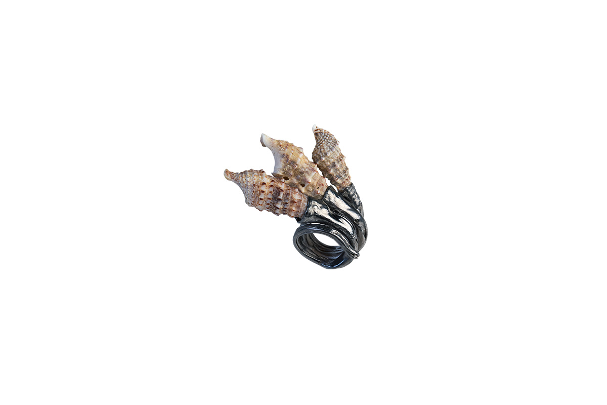 Ring Platinum Plated Sterling Silver, Seashells