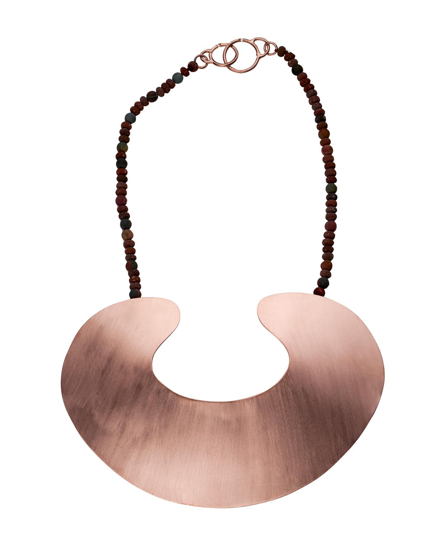 'Embryo' Neckpiece Gold Plated Brass, Jasper, Lava