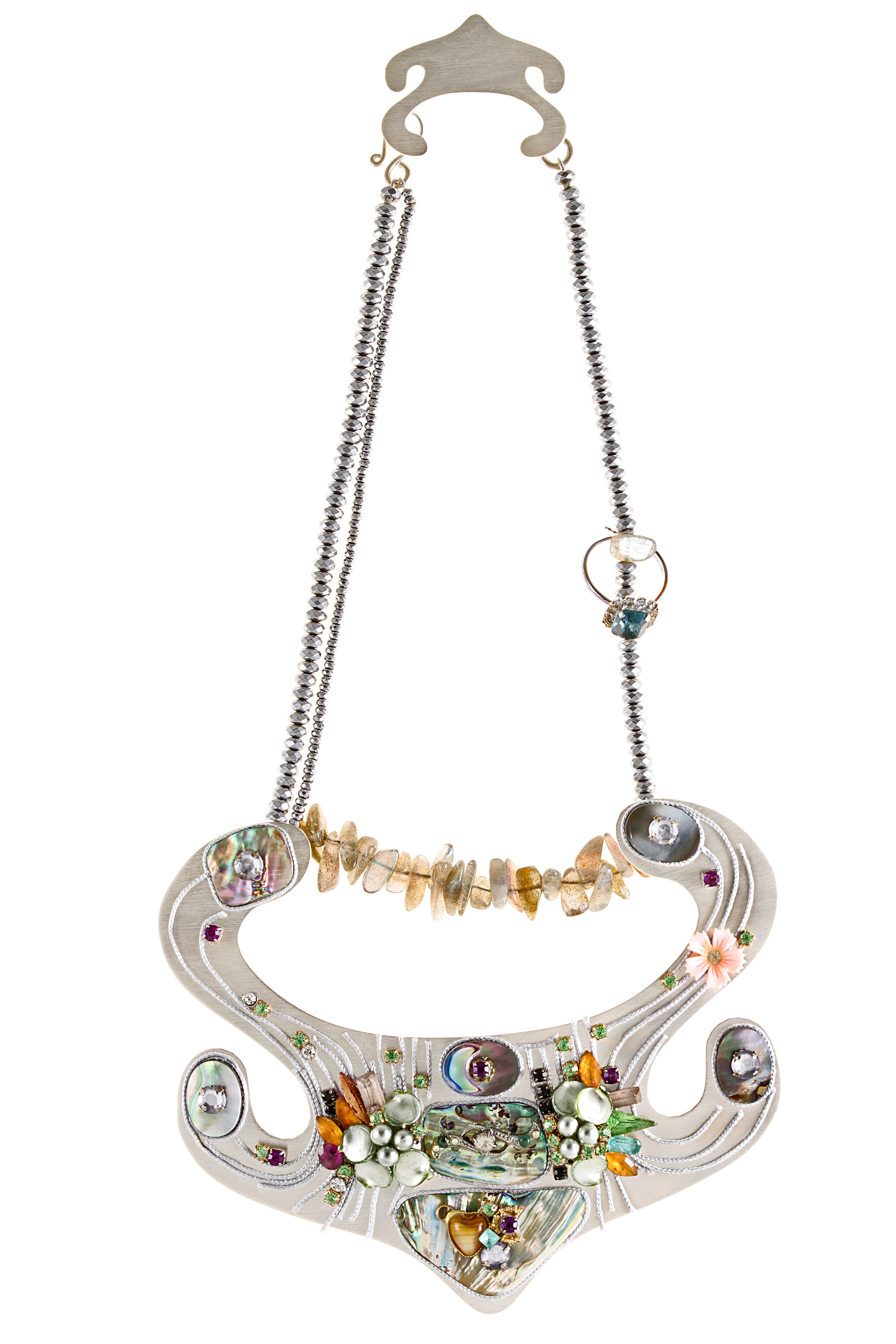 HYBRID, 'Deposed Princess' Necklace Silver Plated Bronze, Hematite, Labradorite, Mother Of Pearl, Peridot, Found Objects, Recycled Plastic, Silk