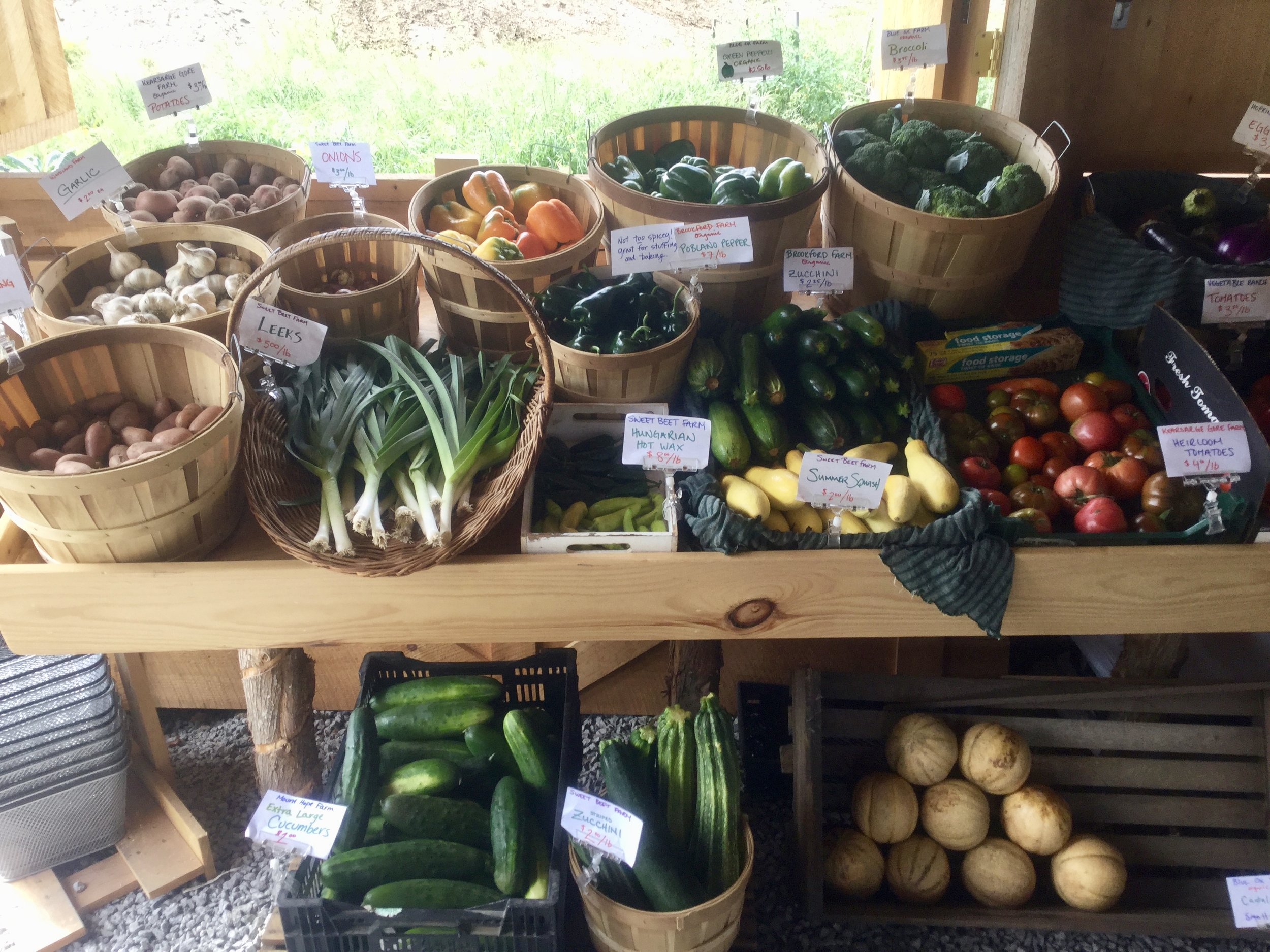 Our first attempt at selling produce - we've always had signs on each and every item telling the story of the source!